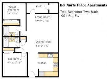 The Colonial 2 Bed 2 Bath Floorplan at Del Norte Place, 94530