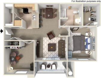 A5 1 Bed 1 Bath Floorplan at Waterstone Apartments, Tracy, CA