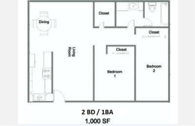 2 Bedroom 1 Bath Floor Plan at The Marquee Apartments, NoHo, California