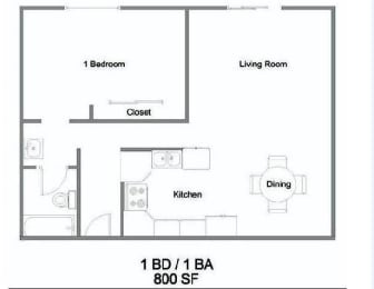 1 Bedroom Floorplan at The Marquee, CA 91605