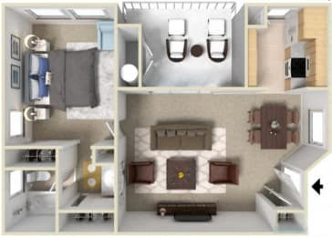 Floor Plan 1 Bedroom - Plan B