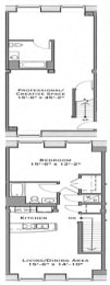 Floor Plan 1 Bedroom Live and Work