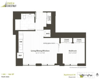 1 Bed 1 Bath Floorplan at State & Chestnut Apartments, 845 N State St, 60610
