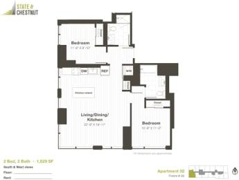 2 Bed 2 Bath Floorplan at State & Chestnut Apartments, Illinois, 60610