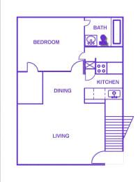 Floor Plan 1BR, 1BTH - C/D