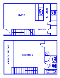 Floor Plan 1BR, 1BTH - E/F/G