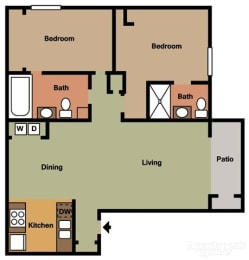 2 Bed 2 Bath A Floorplan at Terramonte Apartment Homes, Pomona, CA 91767