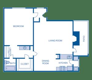 Floor Plan A3 - 1 Bedroom 1 Bath