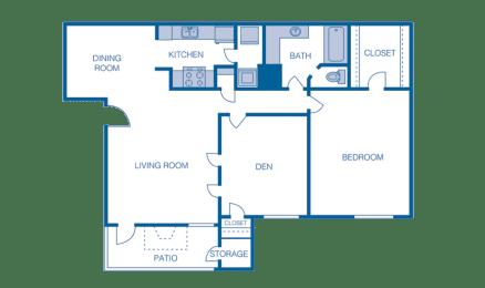 Floor Plan A5 - 1 Bedroom 1 Bath wtih Den