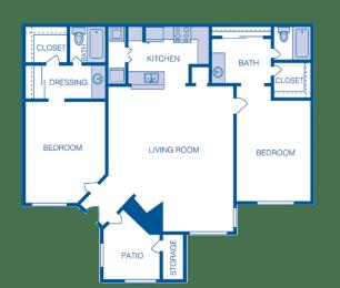 Floor Plan B1 - 2 Bedrooms 2 Bath