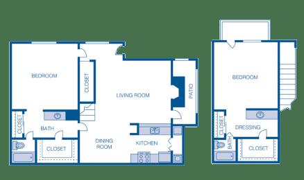 Floor Plan B2 - 2 Bedrooms 2 Bath Townhouse