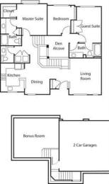Townhouse with Den I- 55+ Adult Living Floorplan at Reunion at Redmond Ridge, Redmond, Washington