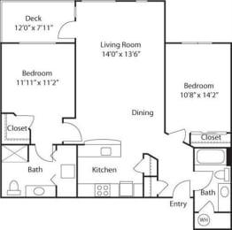 C4- 55+ Adult Living Floorplan at Reunion at Redmond Ridge, Redmond, Washington