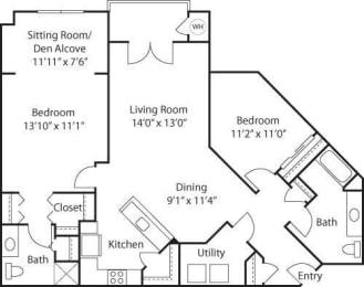 C7A with Den- 55+ Adult Living Floorplan at Reunion at Redmond Ridge, Washington, 98053