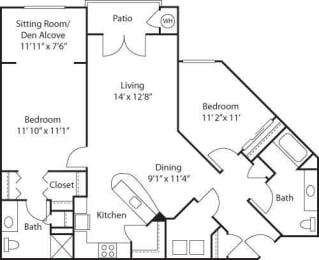 C7 with Den- 55+ Adult Living Floorplan at Reunion at Redmond Ridge, Redmond, Washington