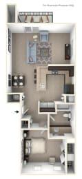 One Bedroom End Floor Plan at Andover Pointe Apartment Homes, Nebraska
