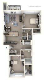 Two Bedroom Two Bath Floor Plan at Andover Pointe Apartment Homes, Nebraska, 68138