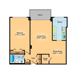 one bedroom one bathroom floor plan at Cole Spring Plaza apartments in downtown Silver Spring MD