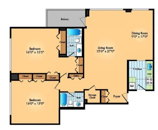 two bedroom two bathroom floor plan at at Cole Spring Plaza apartments in downtown Silver Spring MD