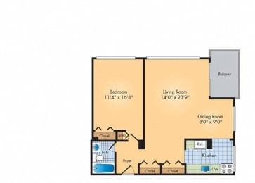 Floor Plan 1Bed 1Bath