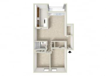 Floor Plan 2BR-1BA