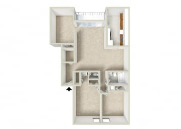 Floor Plan 2BR-1.5BA  Den - 1185-1330sf
