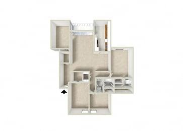 Floor Plan 3BR-1.5BA w Den