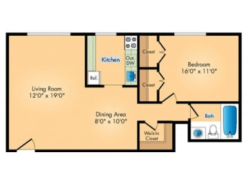 Floor Plan 1B 1BA