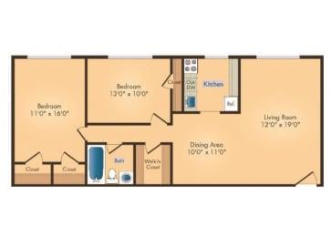 Floor Plan 2B 1BA