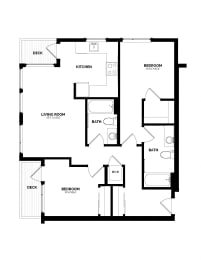 Floor Plan B-7 Two Bedroom/Two Bath