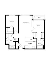 Floor Plan B-12 Two Bedroom/Two Bath