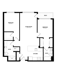 Floor Plan B-3 Two Bedroom/Two Bath