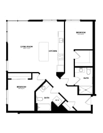 Floor Plan B-5 Two Bedroom/Two Bath