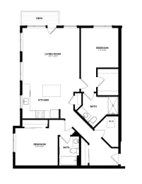 Floor Plan B-6 Two Bedroom/Two Bath