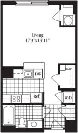 Studio floorplan for The Astoria, at Wentworth House,North Bethesda