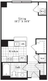 Studio floorplan for The Addington, at Wentworth House, Maryland, 20852