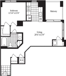 1 Bed 1 Bath floorplan for The Bluemont, at Wentworth House,North Bethesda, Maryland