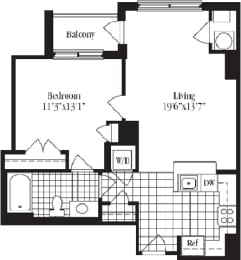 1 bed 1 bath floorplan for The Beaumont, at Wentworth House,North Bethesda, MD, 20852