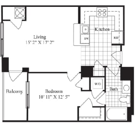 1 Bed 1 Bath floorplan for The Belmont, at Wentworth House,North Bethesda, MD, 20852