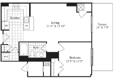 1 bed 1 bath floorplan for The Berkshire, at Wentworth House,North Bethesda, MD
