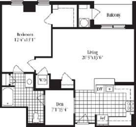 1 bed 1 bath floorplan for The Cambridge, at Wentworth House, Maryland, 20852