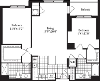 2 bed 2 bath floorplan for The Doncaster, at Wentworth House,North Bethesda, 20852