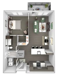 Nona Park Village - A4 - Gardenia - 1 bedroom - 1 bath - 3D Floor Plan