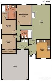 3 Bed 2 Bath Floor Plan at Shenandoah Properties, Indiana
