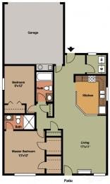2 Bed, 2 Bath Floor Plan at Shenandoah Properties, Lafayette, IN