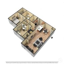 2 Bed, 2 Bath, 1,164 Square Feet 3D Floor Plan