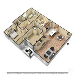 3 Bed, 2 Bath, 1,291 Square Feet 3D Floor Plan