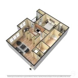 1 Bedroom, 1 Bathroom, 848 Square Feet 3D Floor Plan