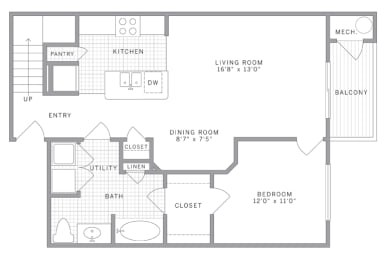 A1 Loft Floor Plan at AVE Union, New Jersey