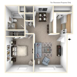 One Bedroom Cape Cod Floor Plan at Trappers Cove Apartments, Lansing, MI